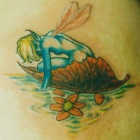 Blue fairy swimming  on fallen leaf