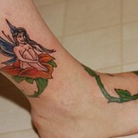 Small fairy on thorned rose on leg