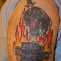 Harley davidson in flames tattoo