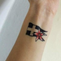 Flag and flower wrist tattoo