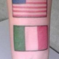 Usa and italy flags on wrist