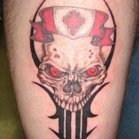 bandiera canadese con cranio tatuaggio