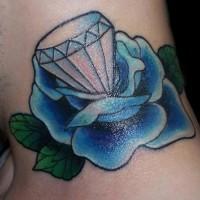 Bloue rose and diamond tattoo