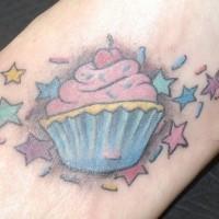 Tatuaje en el pie, pastelito apetitoso