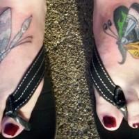 Mutation dragonflies usa flag style foot tattoo