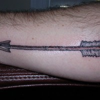 Long, sharp, beautiful, straight   arrow forearm tattoo