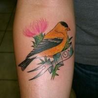 Yellow bird,flower, love mom forearm tattoo