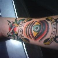 Sleep is the cousin of death forearm tattoo