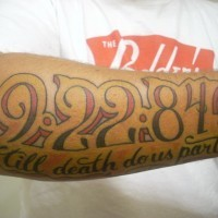 Till death do us part,date, forearm tattoo