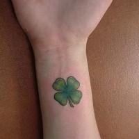 Classic four leaf clover wrist tattoo