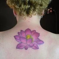 Purple flower tattoo on back