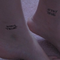 Identical friendship ankle tattoos