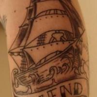 amicizia in mare inchiostro nero tatuaggio