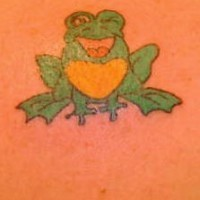 Smiling frog tattoo in colour