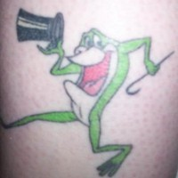 Frog with cylinder hat and stick  tattoo