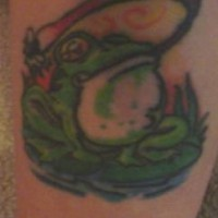 Croaking frog on swamp tattoo