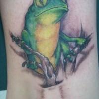 Super realistic green frog tattoo
