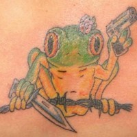 Frog on barb wire with gun and dagger