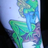 Frog lady pinup tattoo in colour