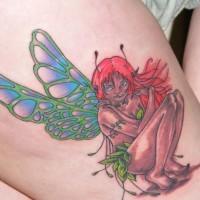 Erstaunliche bunte Fee Tattoo