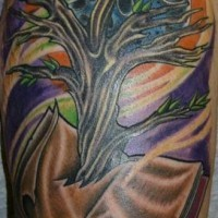 Full color tree tattoo on shoulder