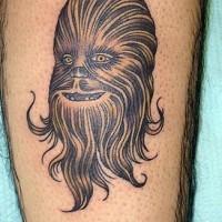 elegante chewbacca da guerra stellare tatuaggio