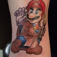 Jedi mario tattoo in colour