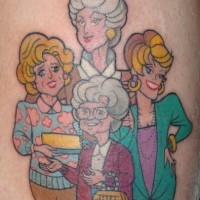 Ladies in age tattoo in colour