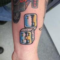 Steel dice wrist tattoo