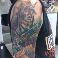 tatuaje en color de rey suicida de corazones