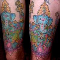 Blue ganesha hip tattoo