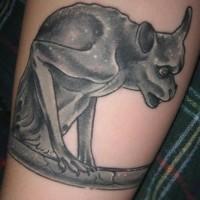 Gargoyle black ink tattoo