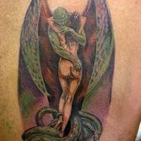 Gargoyle hugging girl in snakes colourful tattoo