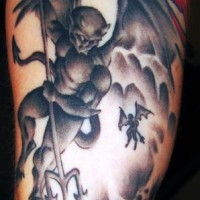 Imps with trident in sky tattoo