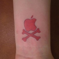 Apple logo and bones wrist tattoo