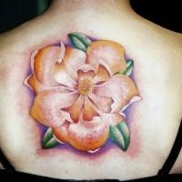 Large elegant flower tattoo girl back