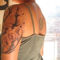 Sakura tree shoulder tattoo