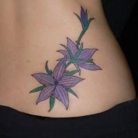 Five pointed star purple flowers tattoo