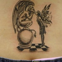 Demon and fairy on chessboard
