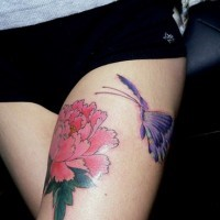 Purple butterfly and pink flower on hip