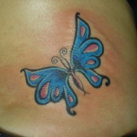 Blue colourful butterfly  tattoo