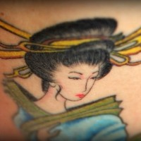 Colourful geisha girl tattoo