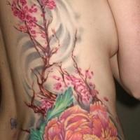 Colourful flower and sakura tree artwork tattoo