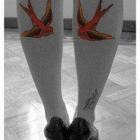 Red sparrows tattoos on both legs