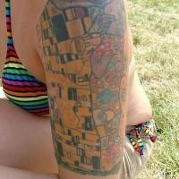 Gustav klimt lovers tattoo on arm