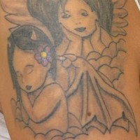 Good and evil cherubs in clouds tattoo