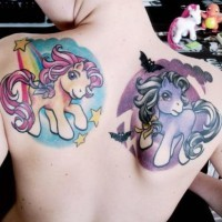 Good and evil my little ponies tattoos on back