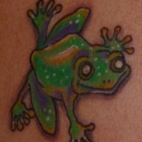 Smiling green frog tattoo