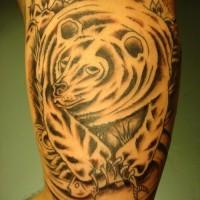Grizzlybär fangt Lachs schwarzes Tattoo