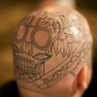 Head tattoo, black and white outline, teeth, eye